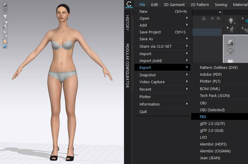 Export avatar from Clo 3D