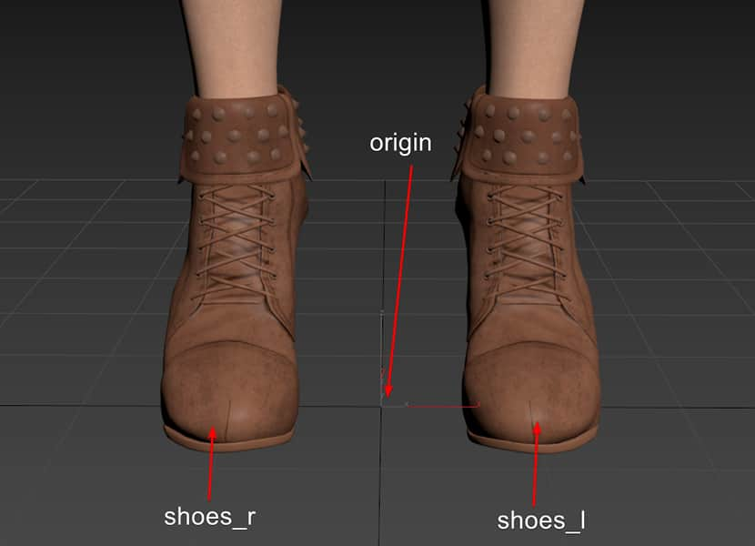 Placing shoe models and naming in 3ds max before export to CLO 3D