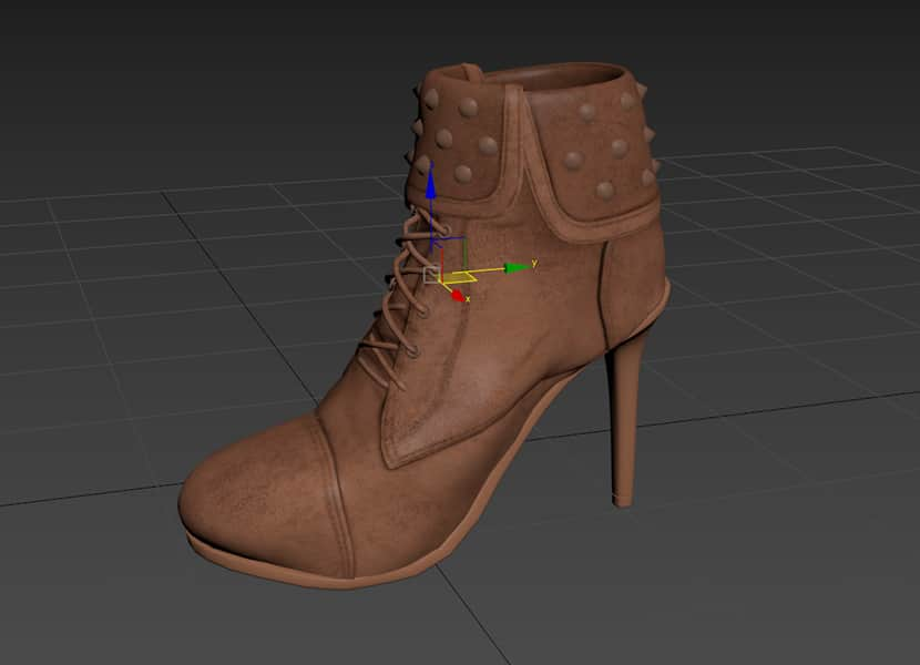 Shoe 3d model pivot centered to objecy in 3ds max