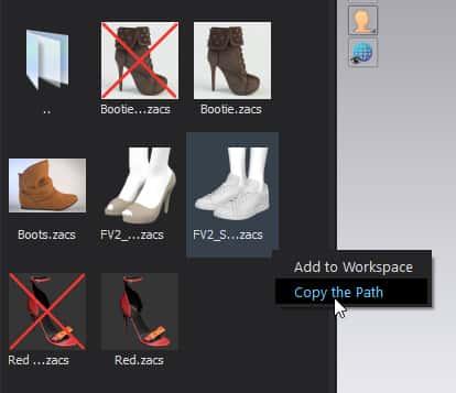 Copy shoe directory path in CLO 3D