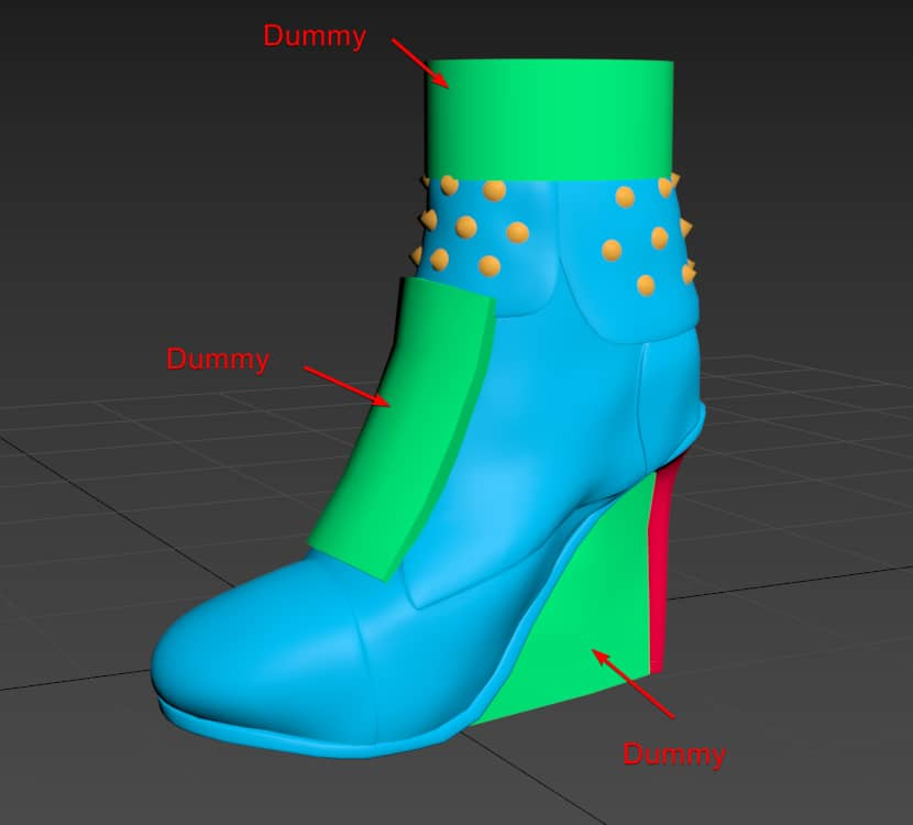 Preparing shoe 3d model for export to CLO 3D