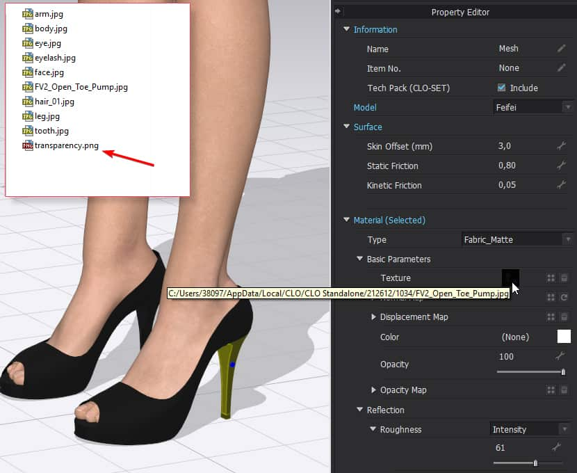 Apply transparency texture in CLO 3D