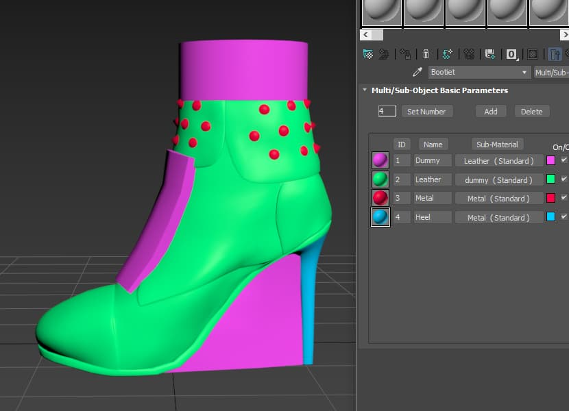 Shoe 3d model and materials ID before exporting model to CLO 3D